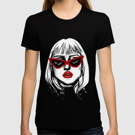 Punk Girl in Sunglasses with Red Lips T-shirt