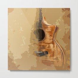 Guitar fractal brown back Metal Print