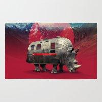 rhino Area & Throw Rugs featuring Rhino by Ali GULEC