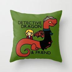 detective dragon & friend - sherlock hobbit parody Throw Pillow