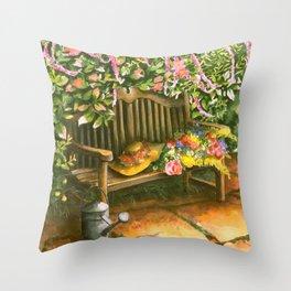 Garden Bench Throw Pillow