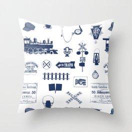 Railroad Symbols // Navy Blue Throw Pillow