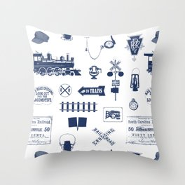 Railroad Symbols // Navy Blue Throw Pillow