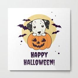 Dalmatian In Pumpkin Sweet Dogs Happy Halloween Metal Print
