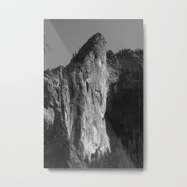 Mountain from Yosemite in Black and White Metal Print