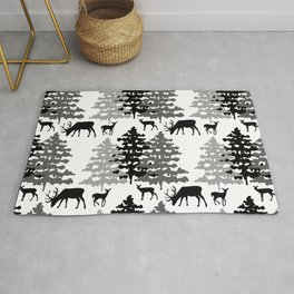 Woodland Rustic Deer Winter Mountain Forest Trees Rug