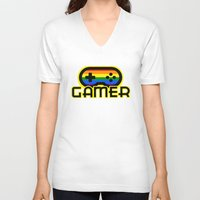 gamer V-neck T-shirts featuring Rainbow Gamer by UMe Images