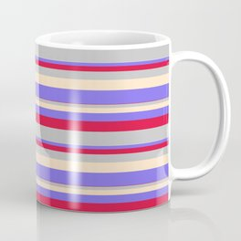 Crimson, Grey, Bisque & Medium Slate Blue Colored Lined Pattern Coffee Mug