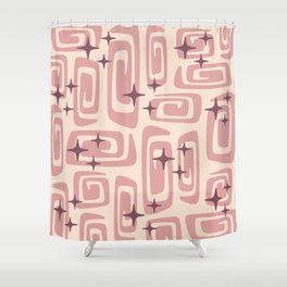 Mid Century Modern Cosmic Galaxies 229 Dusty Rose Shower Curtain