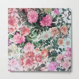 Vintage green pink lavender country floral Metal Print
