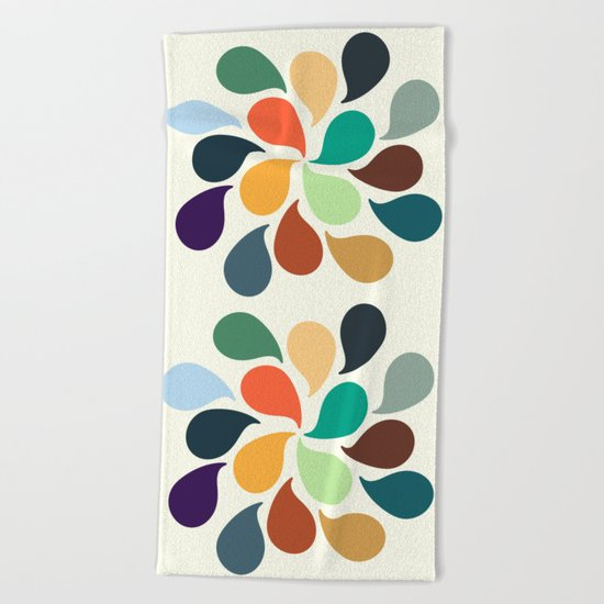 Colorful Water Drops Beach Towel