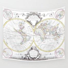 World map wall art 1665 dorm decor mappemonde Wall Tapestry