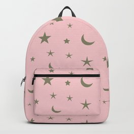 Pink background with grey moon and star pattern Backpack