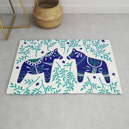 Swedish Dala Horses – Navy & Blue Palette Rug