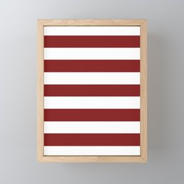 Falu red - solid color - white stripes pattern Framed Mini Art Print
