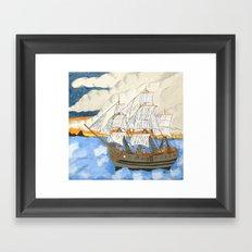 Pirate Ship At Sea Framed Art Print