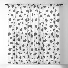 White Polka Dot Dalmatian Print Sheer Curtain