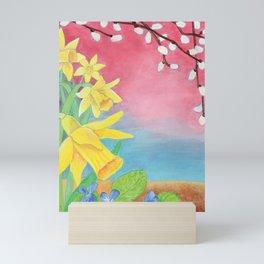 Spring flowers, Daffodils, Salix caprea and Sweet violet illustration Mini Art Print