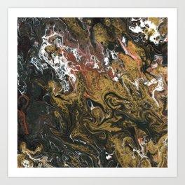 Golden Seas 2, abstract poured acrylic Art Print