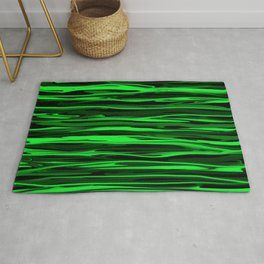 Lime Green and Black Stripes Rug