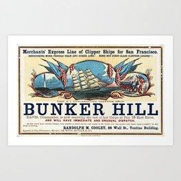 Bunker Hill Clipper Ship Card Art Print