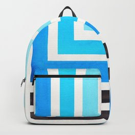 Cerulean Blue Minimalist Inca Geometric Mid Century Modern Watercolor Pattern Maze Backpack