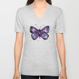 Purple Butterfly Watercolor Abstract Animal Art Unisex V-Neck