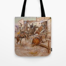"""""""In Without Knocking"""" by Charles M Russell Tote Bag"""
