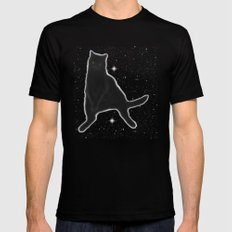 Kiki Kitty Cat in Outer Space MEDIUM Black Mens Fitted Tee