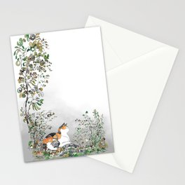 Calico Cat In The Garden Stationery Cards