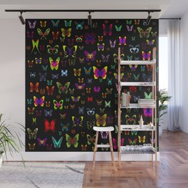 Numerous colorful butterflies on a neutral background Wall Mural