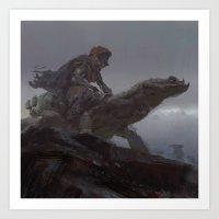lizard rider rapid Art Print