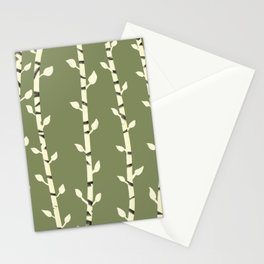 Birch branches olive green Stationery Cards