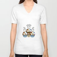 polkadot V-neck T-shirts featuring Cute Monster With Blue And Brown Polkadot Cupcakes by Mydeas