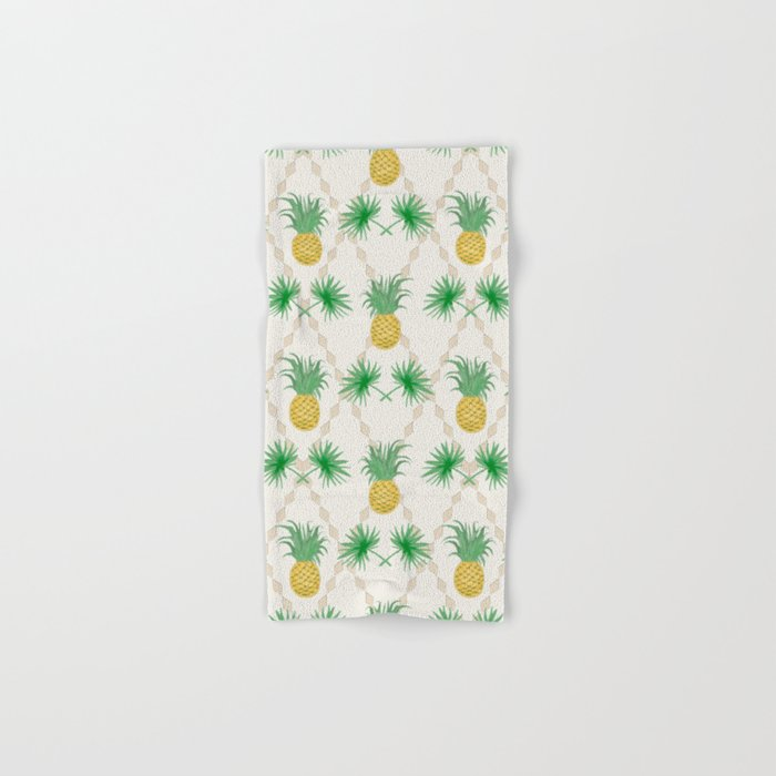 Exotic tropical  pattern with palm branches and pineapples . Hand & Bath Towel