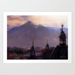 Overlooking the Mountain Town Art Print