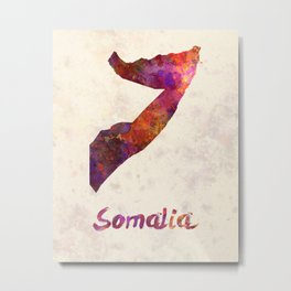 Somalia in watercolor Metal Print
