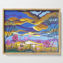Pretty in Pink, Pink floral landscape, Abstract Landscape Serving Tray