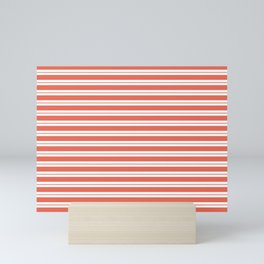 Pantone Living Coral Horizontal Line Patterns on White 1 Mini Art Print