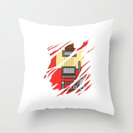 """When """"No Music No Life"""" Tee """" With A Creative Illustration Of An Electric Guitar T-shirt Design Throw Pillow"""