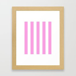 Lavender rose pink - solid color - white vertical lines pattern Framed Art Print