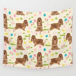 Cocker Spaniel easter eggs easter bunny cute spring dog pattern design for spaniel owners Wall Tapestry