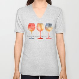 Time to Wine Down Watercolour Unisex V-Neck