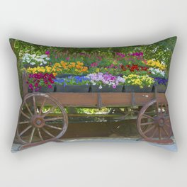 Spring Flowers in Cart Rectangular Pillow
