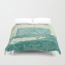 Connecticut State Map Blue Vintage Duvet Cover