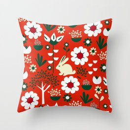 Spring woodland and a little bunny Throw Pillow