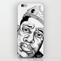 biggie smalls iPhone & iPod Skins featuring Biggie Smalls Stippling by Tom Brodie-Browne