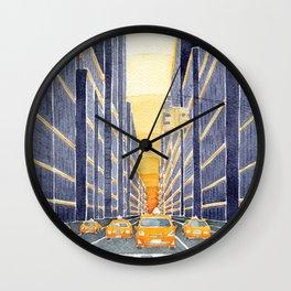 NYC, yellow cabs Wall Clock