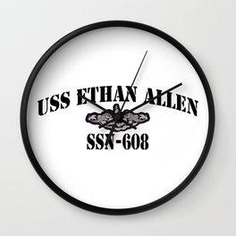 USS ETHAN ALLEN (SSN-608) BLACK LETTERS Wall Clock