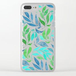Loose Leaves - cool colors Clear iPhone Case